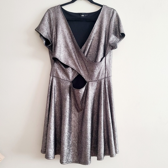 Asos Pewter Cut Out Dress Size 14